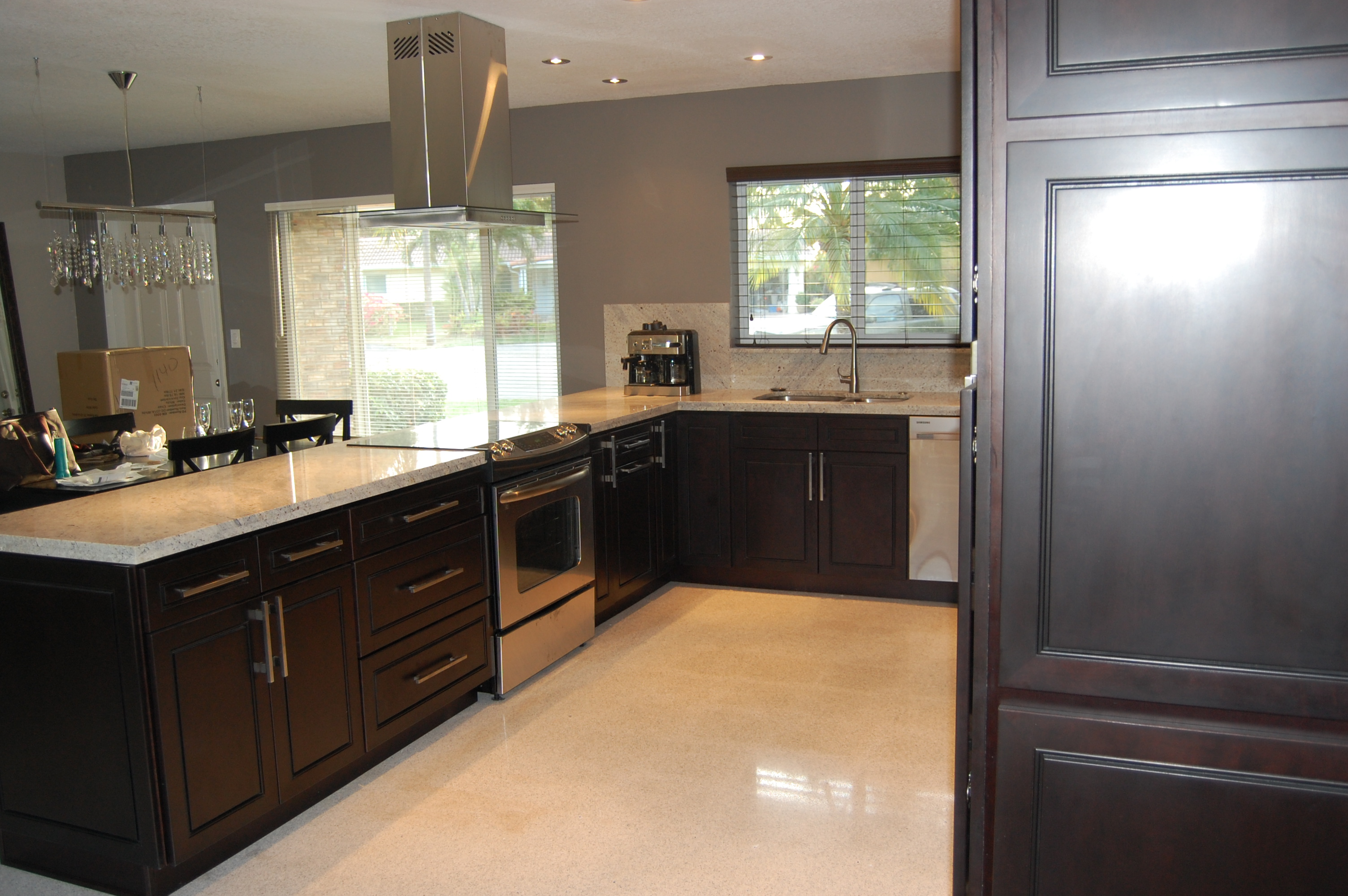 Gray kitchen with espresso cabinets for Kitchen designs espresso cabinets